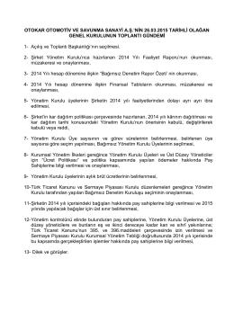 OTOKAR OTOMOTİV VE SAVUNMA SANAYİ A.Ş.`NİN 26.03.2015