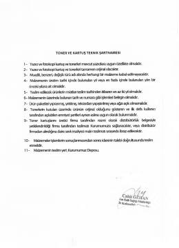 TONER VE KARTUŞ TEKNİK ŞARTNAMESİ I