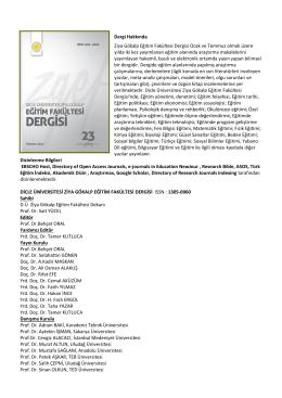 Dergi Hakkında Ziya Gökalp Eğitim Fakültesi Dergisi Ocak ve