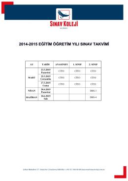AY TARİH ANASINIFI 1. SINIF 2. SINIF MART 23.3.2015 Pazartesi