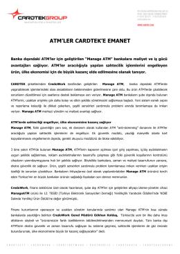 ATM`LER CARDTEK`E EMANET