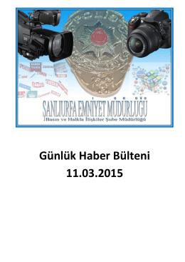 Günlük Haber Bülteni 11.03.2015