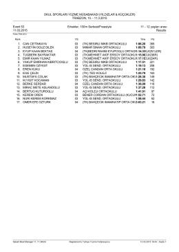 Results - OKUL SPORLARI YÜZME MÜSABAKASI (YILDIZLAR