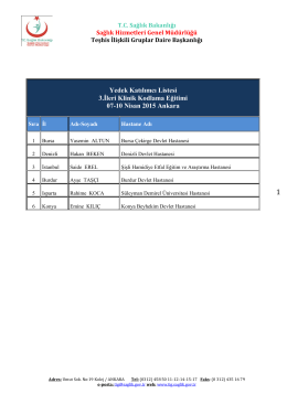 Yedek Katılımcı Listesi 3.İleri Klinik Kodlama Eğitimi 07