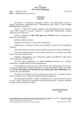 T.C. MUŞ VALİLİĞİ İl Yazı İşleri Müdürlüğü Sayı : 83666756–010