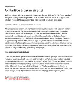 AK Parti`de Erbakan sürprizi