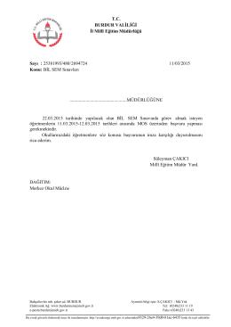 Bilsem Sınavı 12.03.2015 09:21 - Burdur İl Milli Eğitim Müdürlüğü