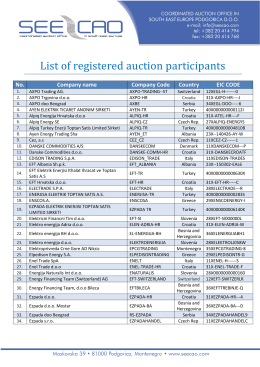 List of registered auction participants