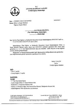Müdürlüğümüzün konu ile ilgili 10/03/2015 tarih ve 2659920 sayılı