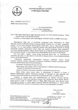 Müdürlüğümüzün konu ie ilgili 12/03/2015 tarih ve 2773117 sayılı