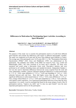 Differences in Motivation for Participating Sport Activities According