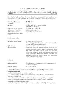 İlaç ve Serum Alımı - İzmir Halk Sağlığı Müdürlüğü