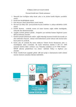 Türkeli Kimlik Kartı Şartnamesi - Türkeli Devlet Hastanesi