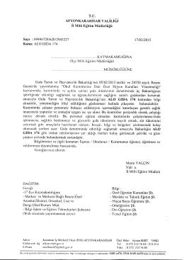 Müdürlüğümüzün konu ile ilgili 17/03/2015 tarih ve 2943227 sayılı