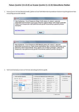 Fatura Çevirici (3.4.0.0) ve Eczane Çevirici (1.12.0) Güncelleme