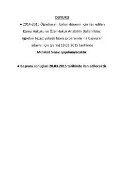DUYURU 2014-2015 Öğretim yılı bahar dönemi için ilan edilen