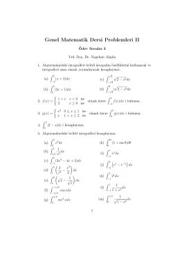 Genel Matematik Dersi Problemleri II