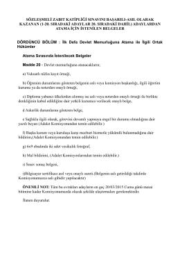Atama için istenilen belgeler