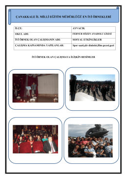Sosyal Etkinlikler Projesi - Çanakkale İl Milli Eğitim Müdürlüğü