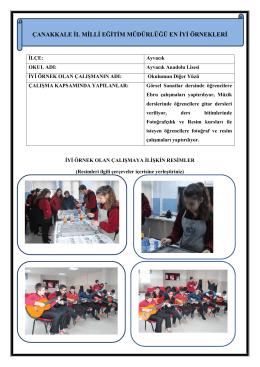 Okulumun Diğer Yüzü Projesi - Çanakkale İl Milli Eğitim Müdürlüğü
