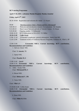 RCN meeting Programme April 17-18, 2015 , Acibadem Maslak