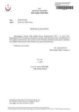 onay yazısı - Antalya Halk Sağlığı Müdürlüğü
