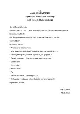 [23.3.2015] Ardahan Merkez 750112 Nolu Aile Sağlığı Merkezi