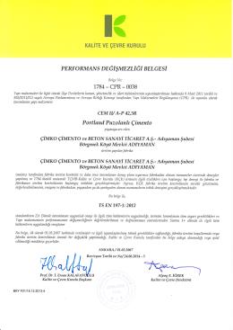 PORTLAND PUZOLANLI ÇİMENTO CEM II/A