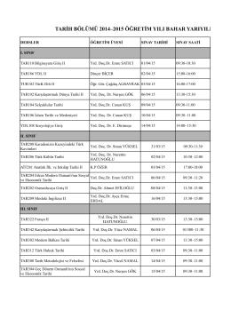 2014/15 Öğretim Yılı Ara Sınav Programı