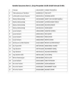 Kendini Savunma Dersi 1. Grup Perşembe 16.00