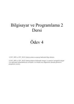 Bilgisayar ve Programlama 2 Dersi Ödev 4