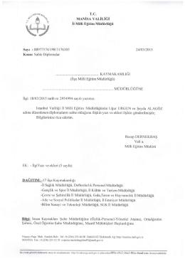 Manisa İl MİLLİ Eğitim Müdürlüğünün Sahte Diploma Konumu 24.03