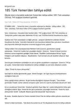 185 Türk Yemen`den tahliye edildi