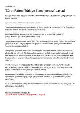 """""""Sürat Pateni Türkiye Şampiyonası"""" başladı"""