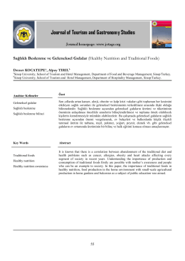 Sağlıklı Beslenme ve Geleneksel Gıdalar (Healthy Nutrition and