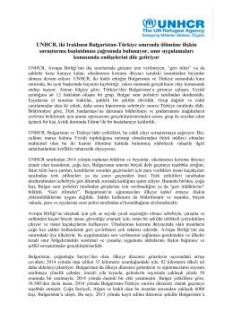 UNHCR, iki Iraklının Bulgaristan-Türkiye sınırında ölümüne ilişkin