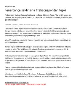 Fenerbahçe saldırısına Trabzonspor`dan tepki