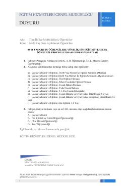 04-06 yaş grubu öğrencilere yönelik din eğitimi verecek