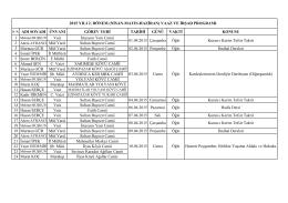 NİSAN-MAYIS-HAZİRAN(2.Dönem) Vaaz İrşat Program Listesi için