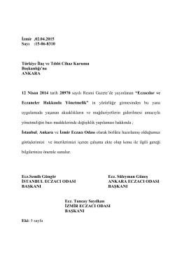 15-06-8310 Türkiye İlaç ve Tıbbi Cihaz Kurumu Başkanlığı`na