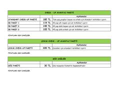 Açıklamalar STANDART CHECK-UP PAKETİ 185