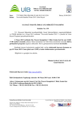 TEXWORLD İSTANBUL NİSAN 2015 ALIM HEYETİ HK