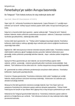 Fenerbahçe`ye saldırı Avrupa basınında