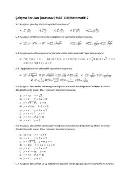 Çalışma Soruları (Arasınav) MAT 118 Matematik-2