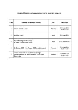 Yükseköğretim Kurumları Tanıtım ve Kariyer Günleri
