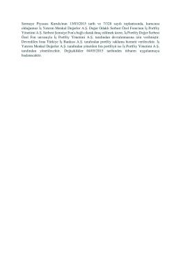 Sermaye Piyasası Kurulu`nun 13/03/2015 tarih ve 7/328 sayılı