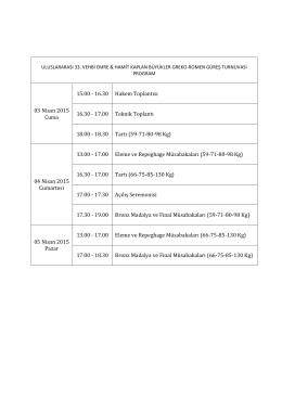 03 Nisan 2015 Cuma 15.00 - 16.30 Hakem Toplantısı 16.30