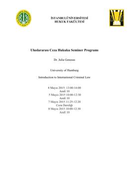 Uluslararası Ceza Hukuku Seminer Programı