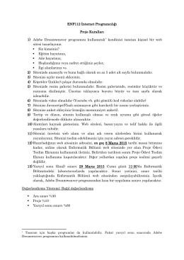 ENF112 İnternet Programcılığı Proje Kuralları 1