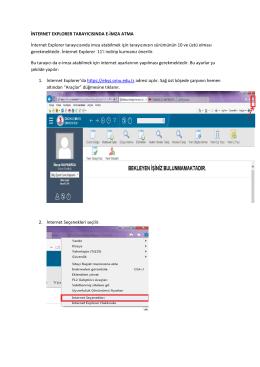 Internet Explorer tarayıcısında e-imza atabilmek için gerekli ayarlar